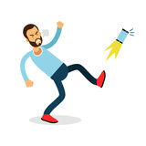 Young furious man shouting and kicking his phone vector Illustration Royalty Free Stock Photos