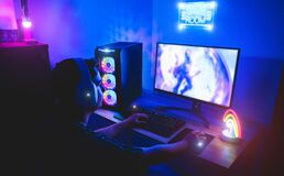 Free Young Gamer Playing Online Platform With Neon Lights In Background - Male Guy Having Fun Gaming And Streaming In Internet With Pc Royalty Free Stock Photo - 173823035