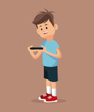 Young gamer standing with smartphone Royalty Free Stock Image