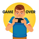 Young gamer unhappy about game over. Young gamer and smartphone addict unhappy about game over. Flat style vector illustration isolated on white background Stock Photography