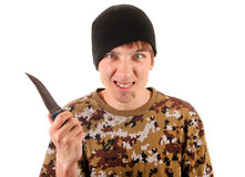 Young Gangster with a Knife Stock Images