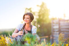 Young gardener in garden with various plants, sunny nature Stock Photos