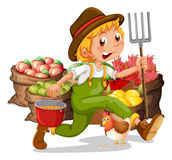 A young gardener. Illustration of a young gardener on a white background stock illustration