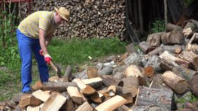 Young gardener man chop wood with axe near woodshed. 4K. Young gardener man chop wood with axe near woodshed in village. Pile of firewood prepared for winter stock video footage