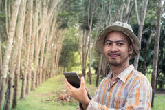 Young gardener man holding digital tablet in garden. Young gardener man smiling while holding digital tablet in rubber tree garden Royalty Free Stock Photo