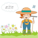 Young gardener who cares for flowers. In  format Stock Photography