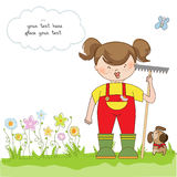 Young gardener who cares for flowers. Young girl gardener who cares for flowers stock illustration