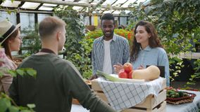 Young gardeners talking to customers in farm market in greenhouse selling food. Young gardeners man and woman are talking to customers in farm market in stock video
