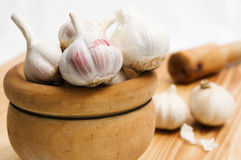 Young garlic. Style rustical on the table Stock Photos