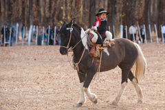 A young Gaucho riding a horse in exhibition Stock Images