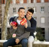 Young  gay men couple with rose and box present celebrating valentines day in love Stock Photography