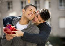 Young  gay men couple with rose and box present celebrating valentines day in love Stock Photos