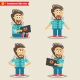 Young IT geek emotions in poses, standing set Royalty Free Stock Photo