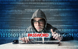 Young geek hacker stealing password. On futuristic background Stock Photography