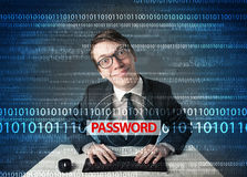Young geek hacker stealing password. On futuristic background Royalty Free Stock Photography