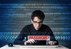 Young geek hacker stealing password. On futuristic background Stock Images