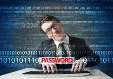 Young geek hacker stealing password Royalty Free Stock Photos