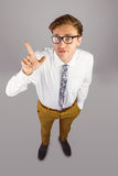 Young geeky businessman pointing to camera Stock Photos