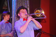 Young geniuses of jazz at the club Olympia. On the stage of a nightclub Olympia, Saint Petersburg, Russia, Europe. 03/02/2017. Youth show band Street Band Stock Photo
