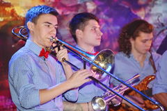 Young geniuses of jazz at the club Olympia. Stock Photography