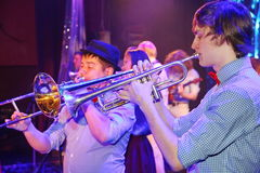 Young geniuses of jazz at the club Olympia. Royalty Free Stock Image