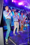 Young geniuses of jazz at the club Olympia. On the stage of a nightclub Olympia, Saint Petersburg, Russia, Europe. 03/02/2017. Youth show band Street Band Royalty Free Stock Image