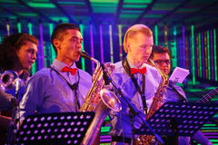 Young geniuses of jazz at the club Olympia. On the stage of a nightclub Olympia, Saint Petersburg, Russia, Europe. 03/02/2017. Youth show band Street Band Royalty Free Stock Photos