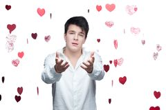 Young gentle brunette man Stock Images