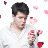 Young gentle brunette man Stock Photo