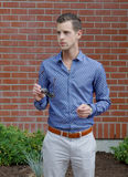 Young Gentleman With A Blue Dress Shirt Royalty Free Stock Photos
