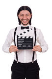 The young gentleman with clapperboard Stock Images