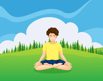 A young gentleman at the hilltop doing yoga. Illustration of a young gentleman at the hilltop doing yoga Royalty Free Stock Photos