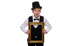 Young gentleman holding frame Stock Images