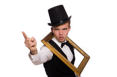 Young gentleman holding frame isolated on white Stock Images