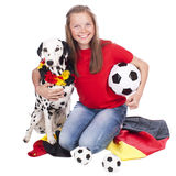 Young german soccer fan with dalmatian dog Stock Photography