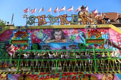 Young Germans enjoying Ride at Funfair. HERFORD,GERMANY-APRIL22:Young Germans enjoying Ride at Funfair.April 22,2019 in Herford,Germany royalty free stock photography