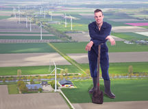 Young giant farmer in aerial view Stock Image