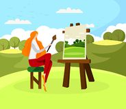 Young Ginger Long Haired Woman Artist on Plein Air vector illustration