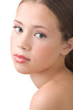 The young girl. Portrait of the beautiful young girl�s close-up on white background Stock Images