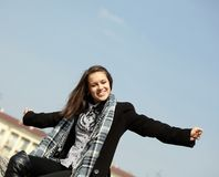 Young girl. In the square Stock Photography