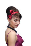The young girl. With a red bandage on a head Stock Photos