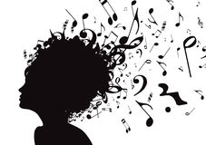 Young girl. Vector illustration of abstract Young girl face silhouette in profile with musical hair Royalty Free Stock Photos