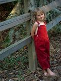 Young Girl. Leaning against fence in overalls Stock Photos