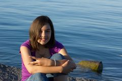 Young girl. A young girl with braces posing at the beach Royalty Free Stock Photography