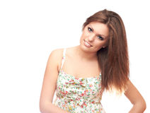 Young girl. Girl with long hair and charming smile Royalty Free Stock Photography