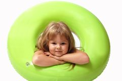 Young girl. With green buoy on white background Royalty Free Stock Images