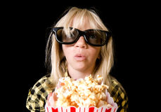 Young Girl at 3-D Movie royalty free stock photos