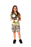 Young girl 4. Young girl dressed in army camouflage with her cute Christmas teddy bear Royalty Free Stock Photography