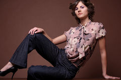 Young girl. Fashion portrait of beautiful young brunette girl Stock Image