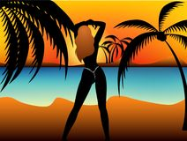 Young girl. Beautiful young girl on the summer beach Vector Illustration
